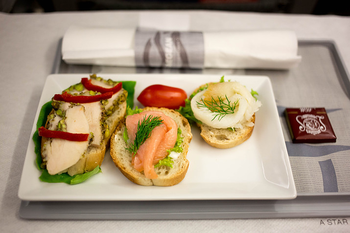 Aegean domestic business class meal